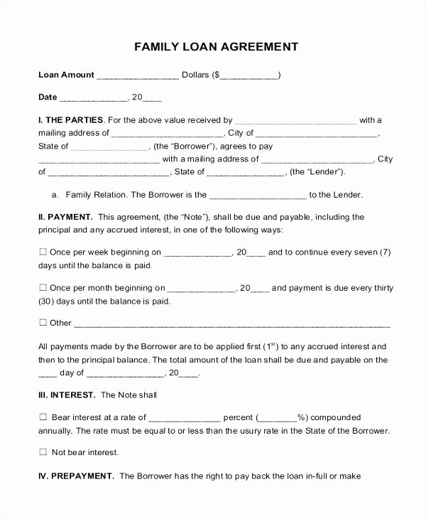 Family Loan Agreement form Contract to Borrow Money From