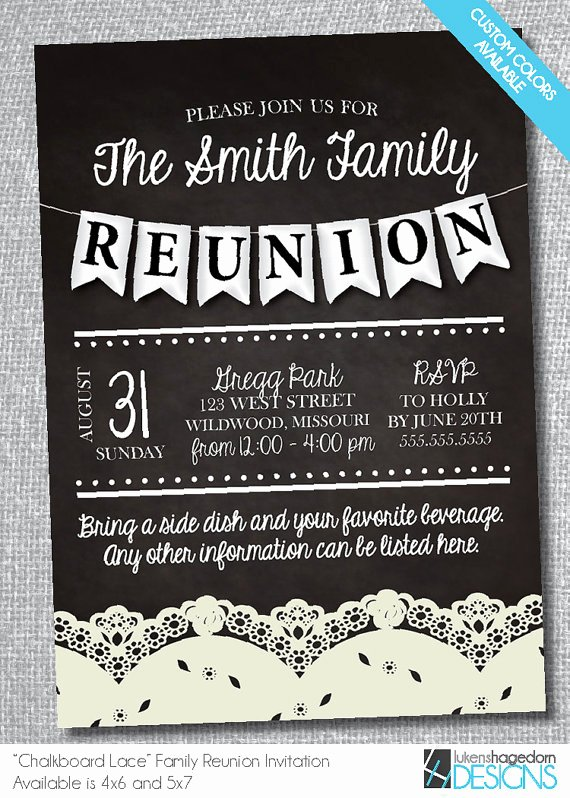Family Reunion Chalkboard Invitation with Lace Digital