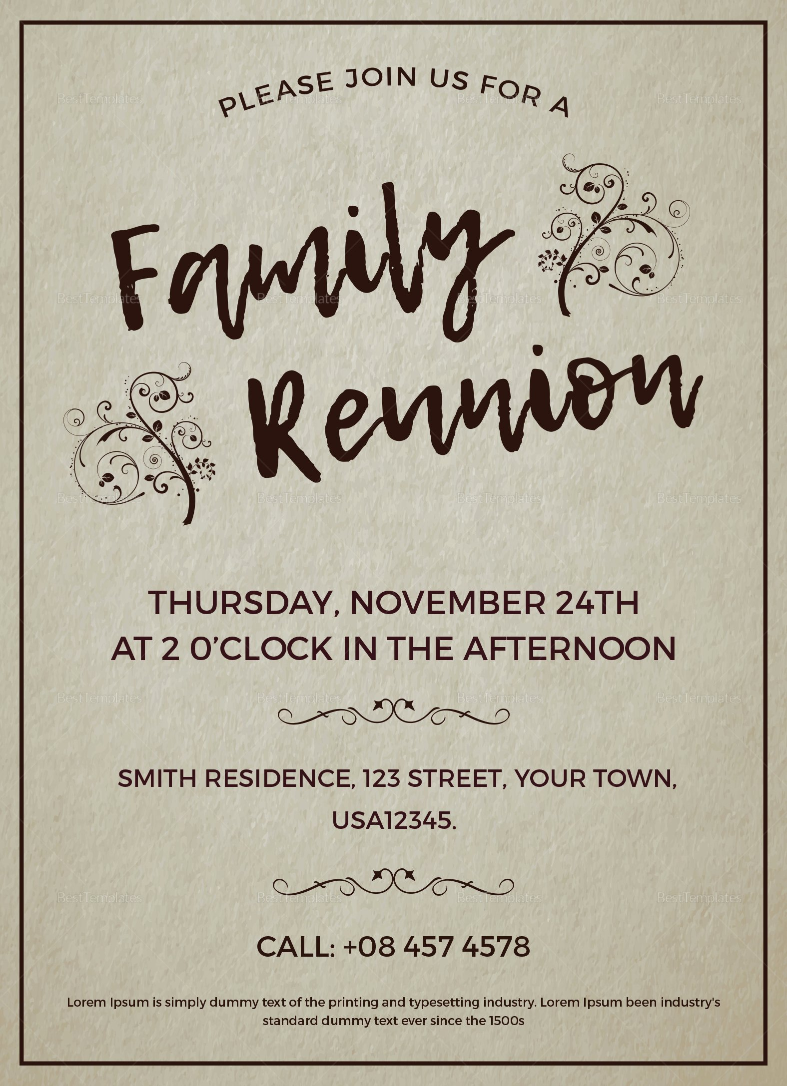 Family Reunion Invitation Design Template In Word Psd
