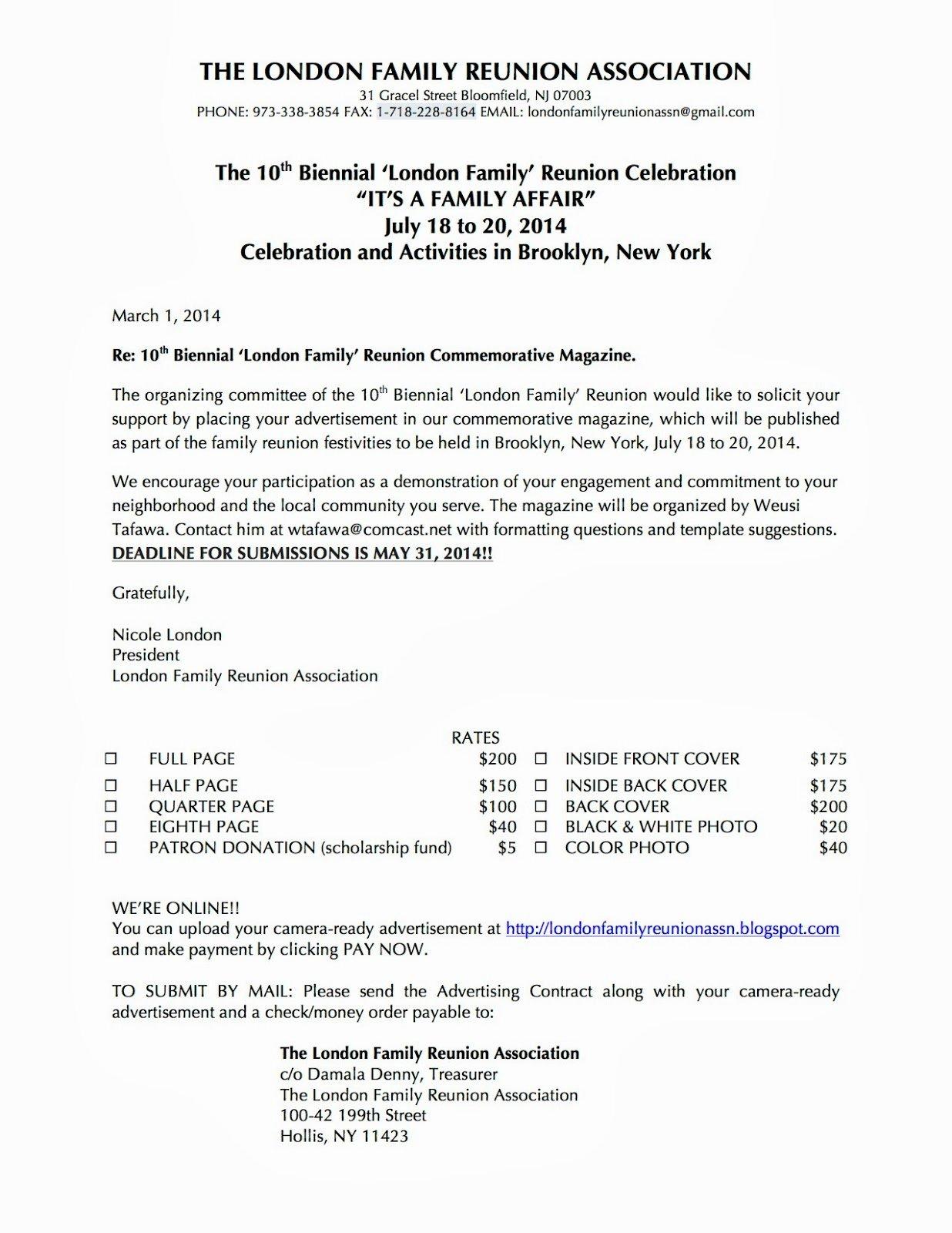 Family Reunion Letter Templates Portablegasgrillweber
