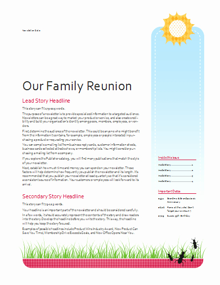 Family Reunion Newsletter Template Google Search