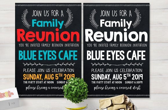 Family Reunion Party Flyer Card Templates Creative Market