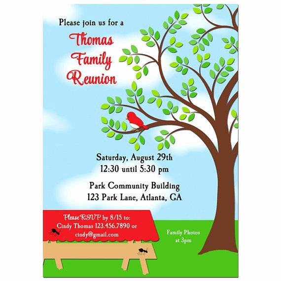 Family Reunion Picnic Bbq Park Invitation Printable or