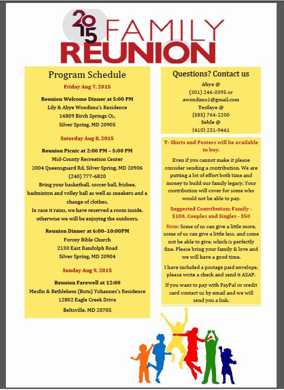 Family Reunion Program Template Gallery Template Design
