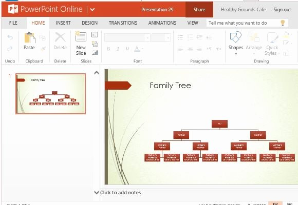 Family Tree Chart Maker Template for Powerpoint Line