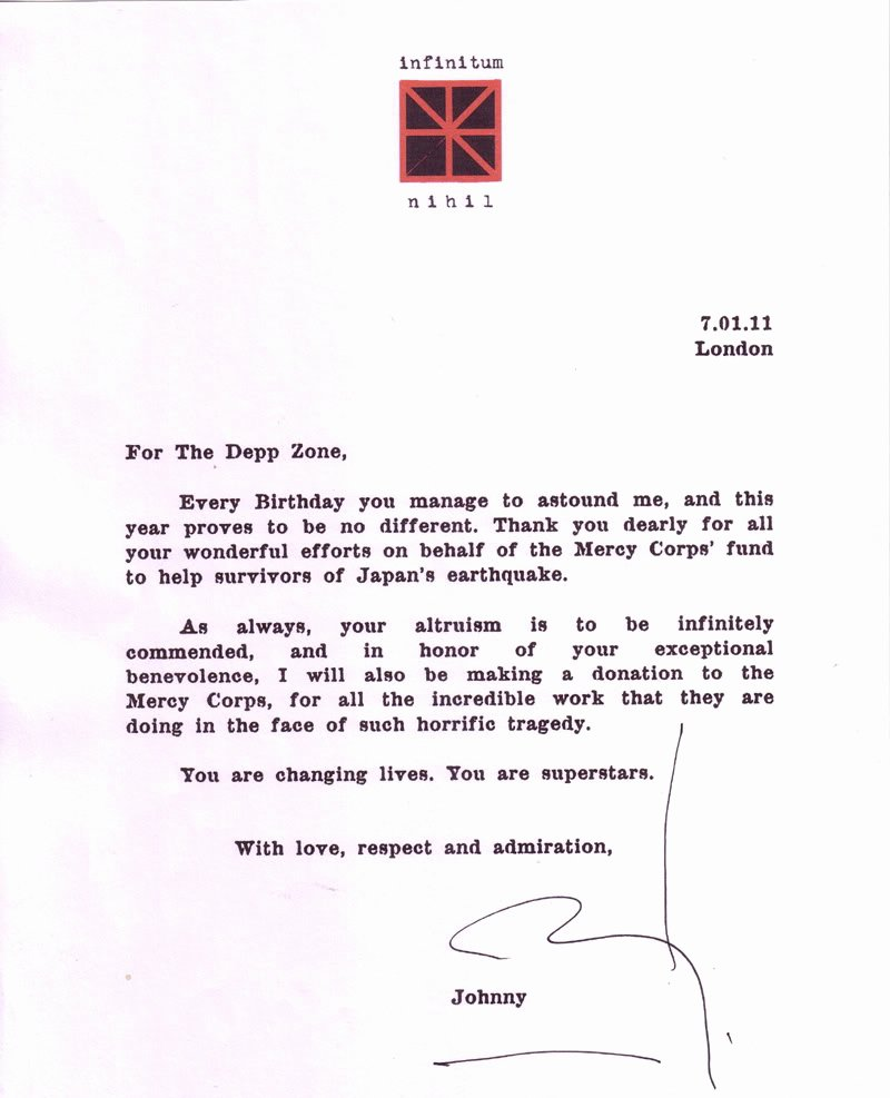 Fantastic News A Thank You Letter From Johnny Depp