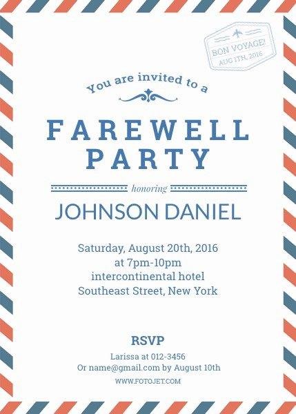 Farewell Invitation Template Templates Data