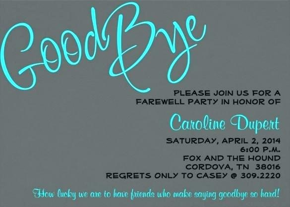 Farewell Party Invitation Template Free Going Away Flyer