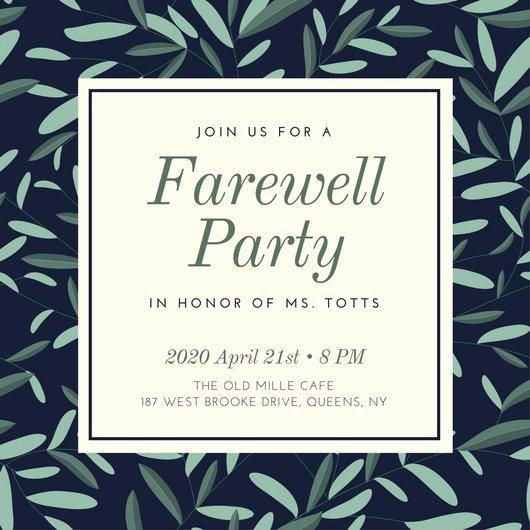 Farewell Party Invitation Templates Canva