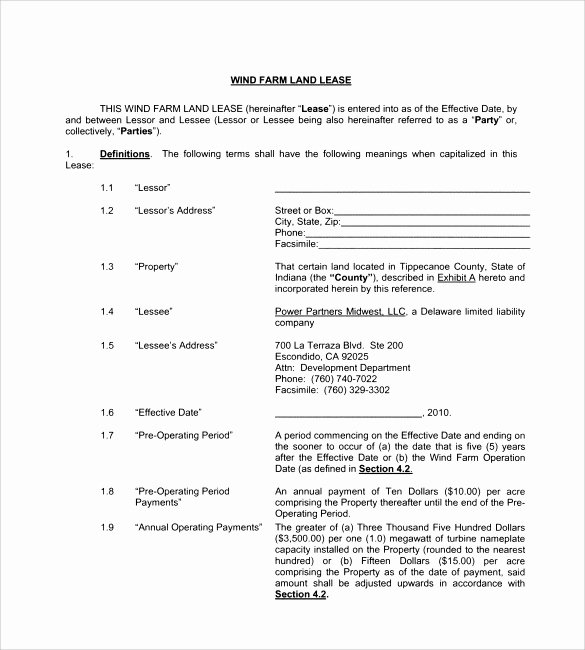 Farm Land Lease Agreement form Bing Images