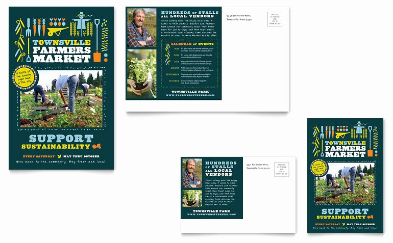 Farmers Market Postcard Template Word & Publisher