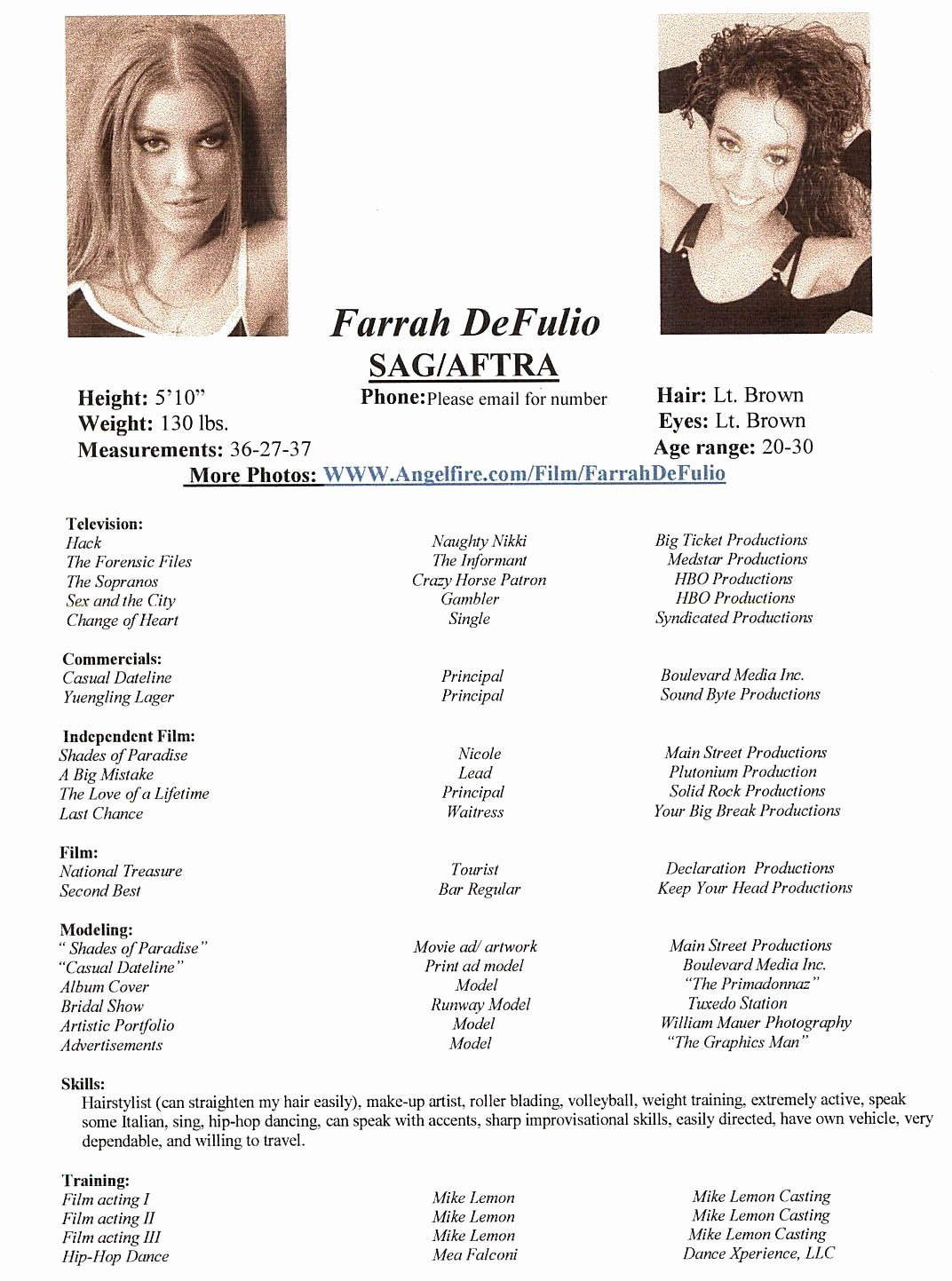 Farrah S Acting and Modeling Resume