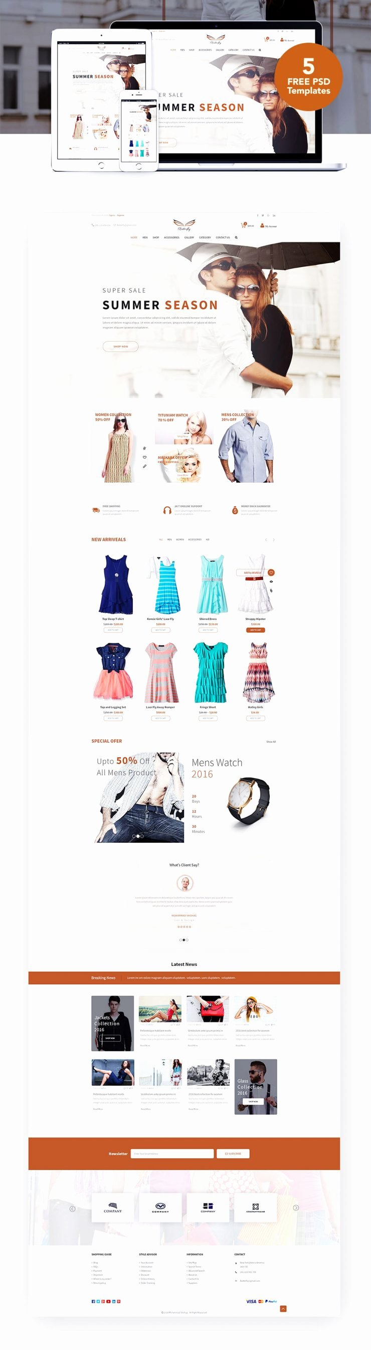 Fashion E Merce Website Templates Free Psd Download