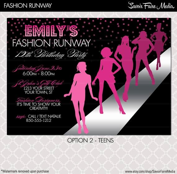 Fashion Show Invitation Project Runway Inspired Birthday