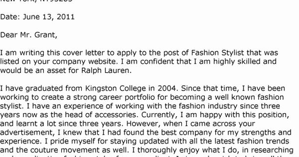 Fashion Stylist Cover Letter Template