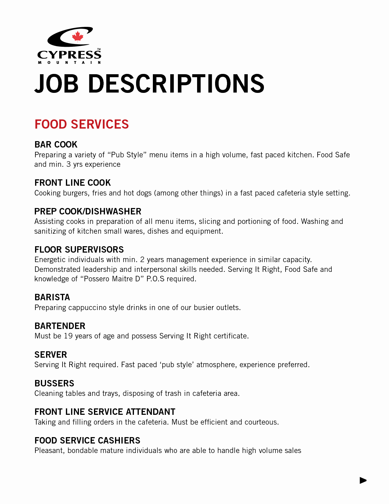 Fast Food Manager Job Description for Resume Resume Ideas