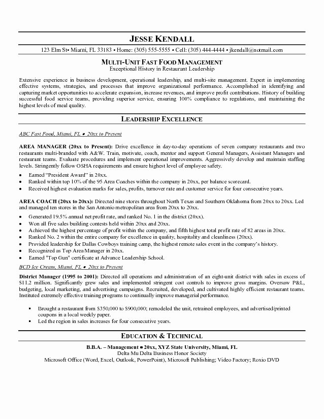 Fast Food Manager Resume Sample Best Resume Gallery