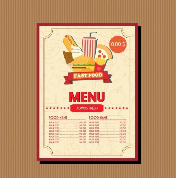Fast Food Menu Template Food Vignette Brown Decoration