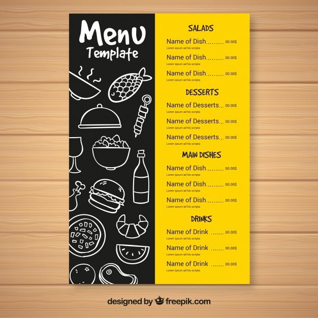 Fast Food Menu Template Vector