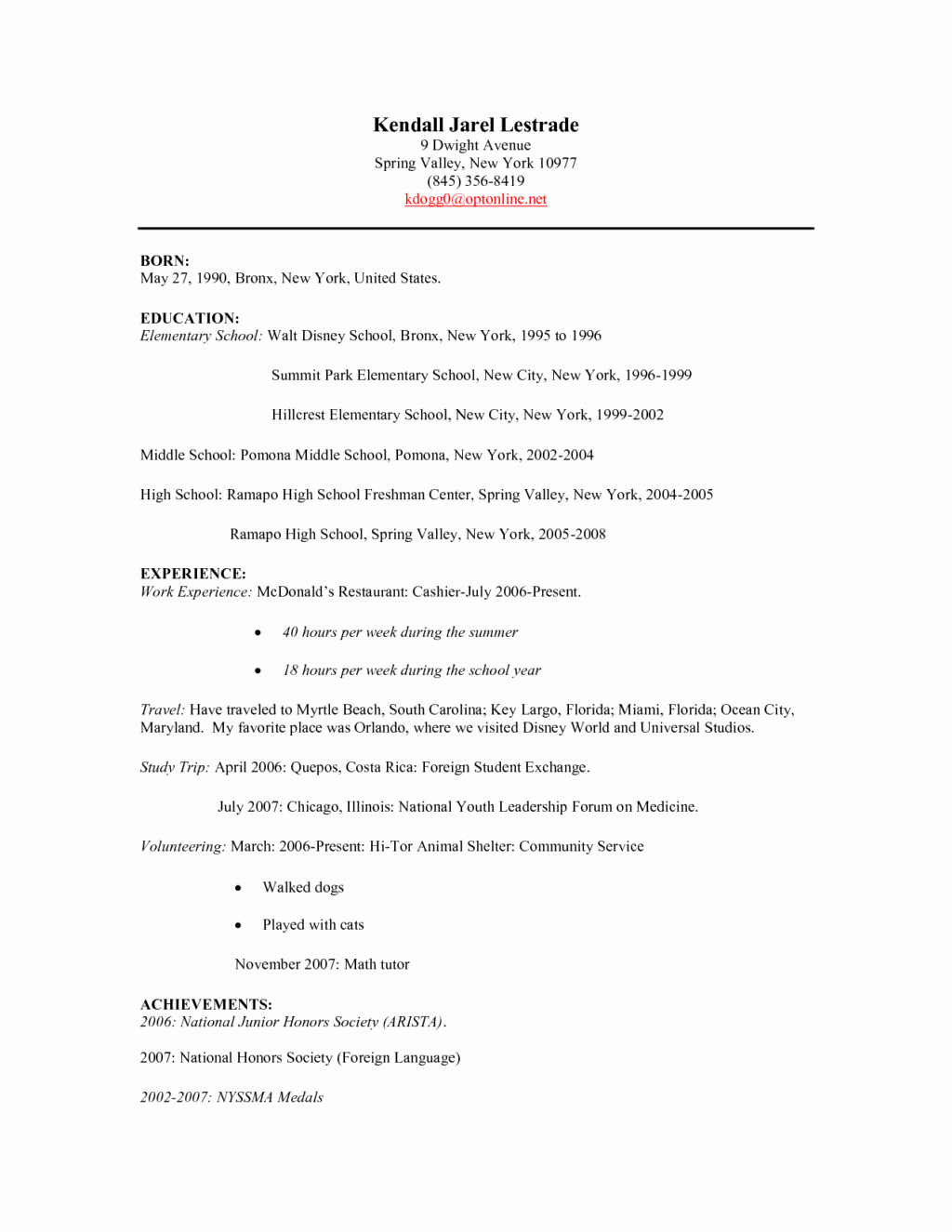 Fast Food Restaurant Cashier Resume Sample – Perfect