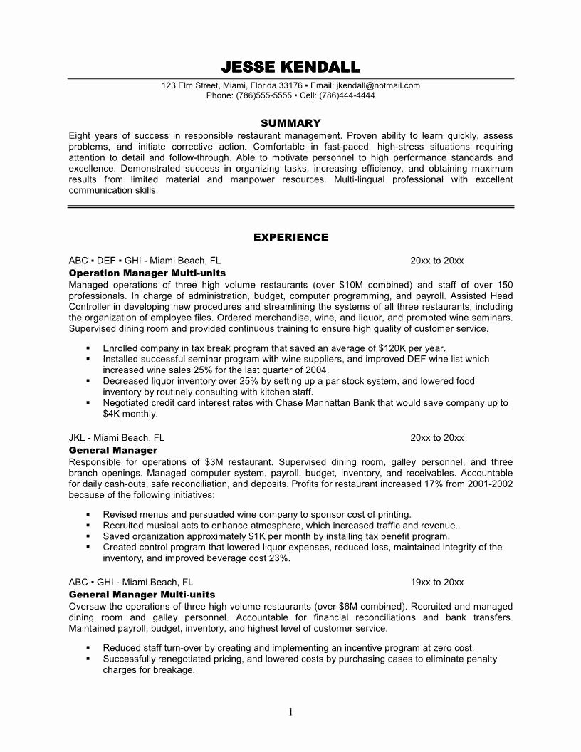 Fast Food Restaurant Manager Resume – Perfect Resume format