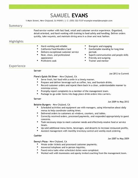 Fast Food Restaurant Resume Best Resume Gallery