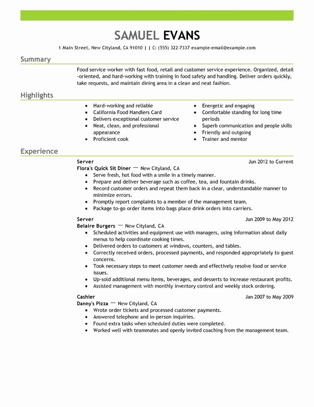 Fast Food Server Resume Examples – Free to Try today