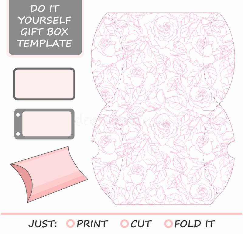 Favor Gift Box Die Cut Box Template with Rose Stock