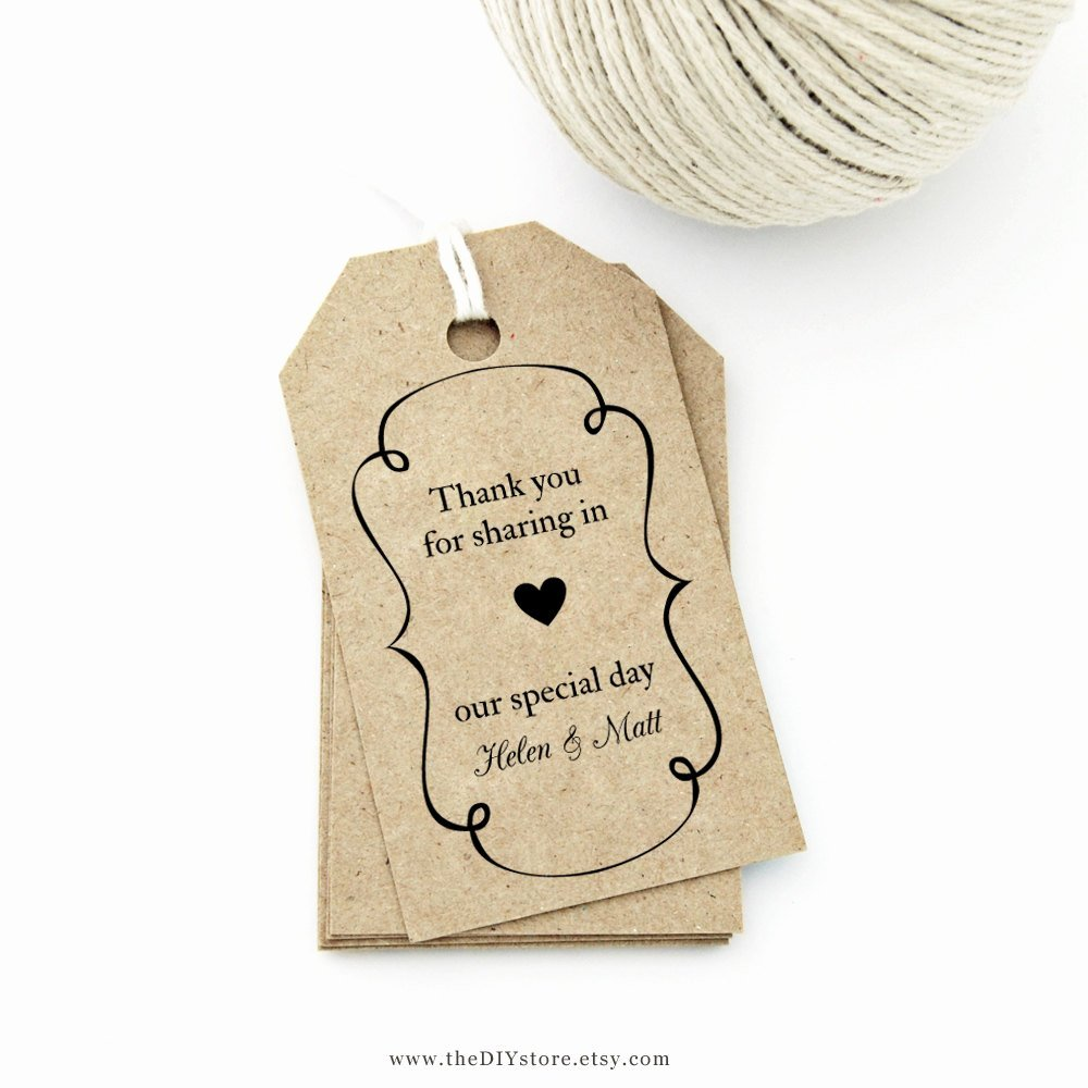 Favor Tag Template Medium Swirly Frame and Heart Design