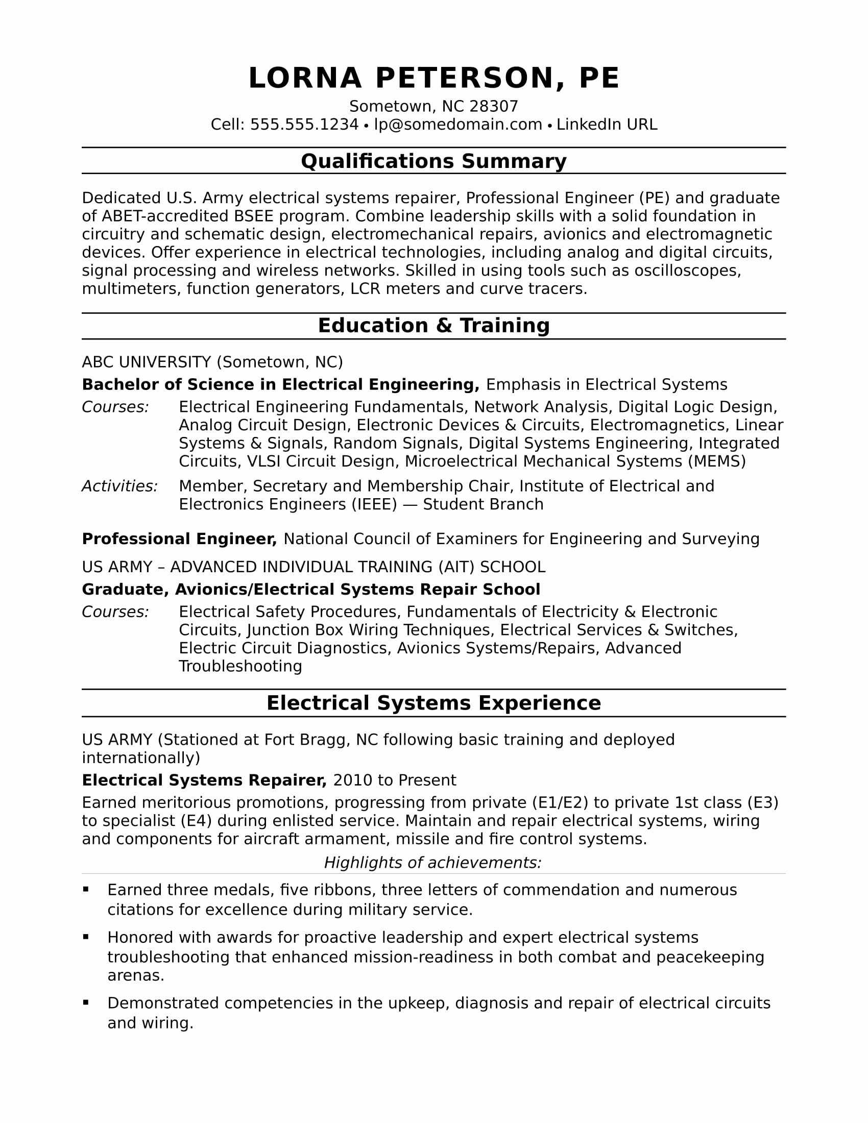 Favorite Electrical Engineer Resume Word format