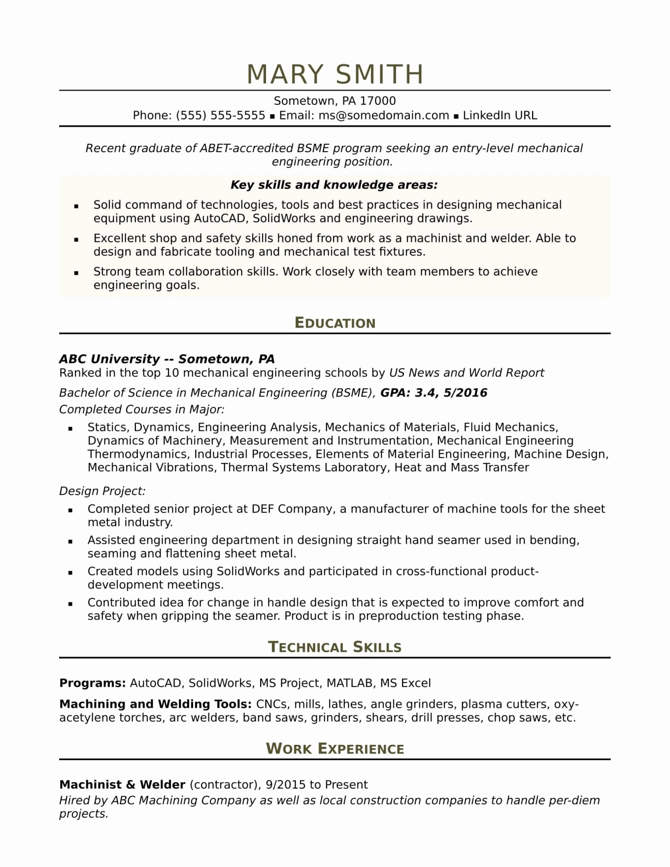 Favorite Entry Level Chemical Engineer Resume Ih45