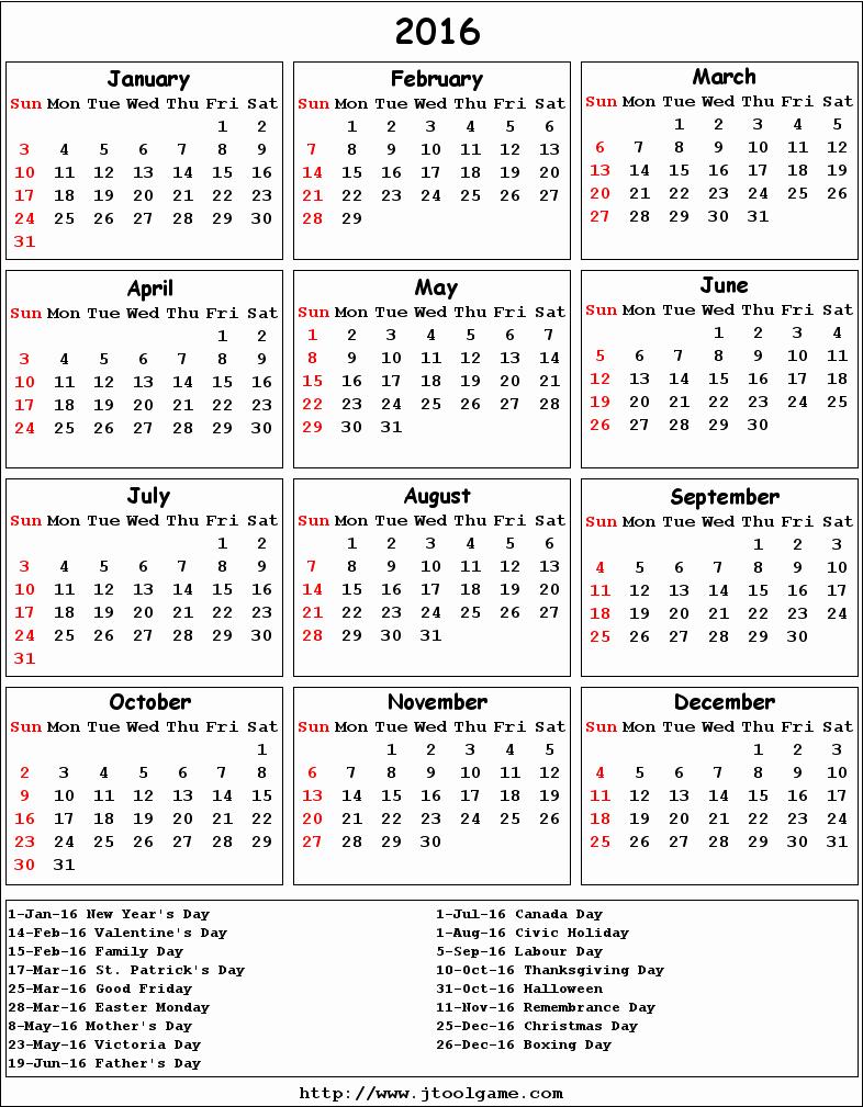 February 2016 Calendar Canada – 2017 Printable Calendar