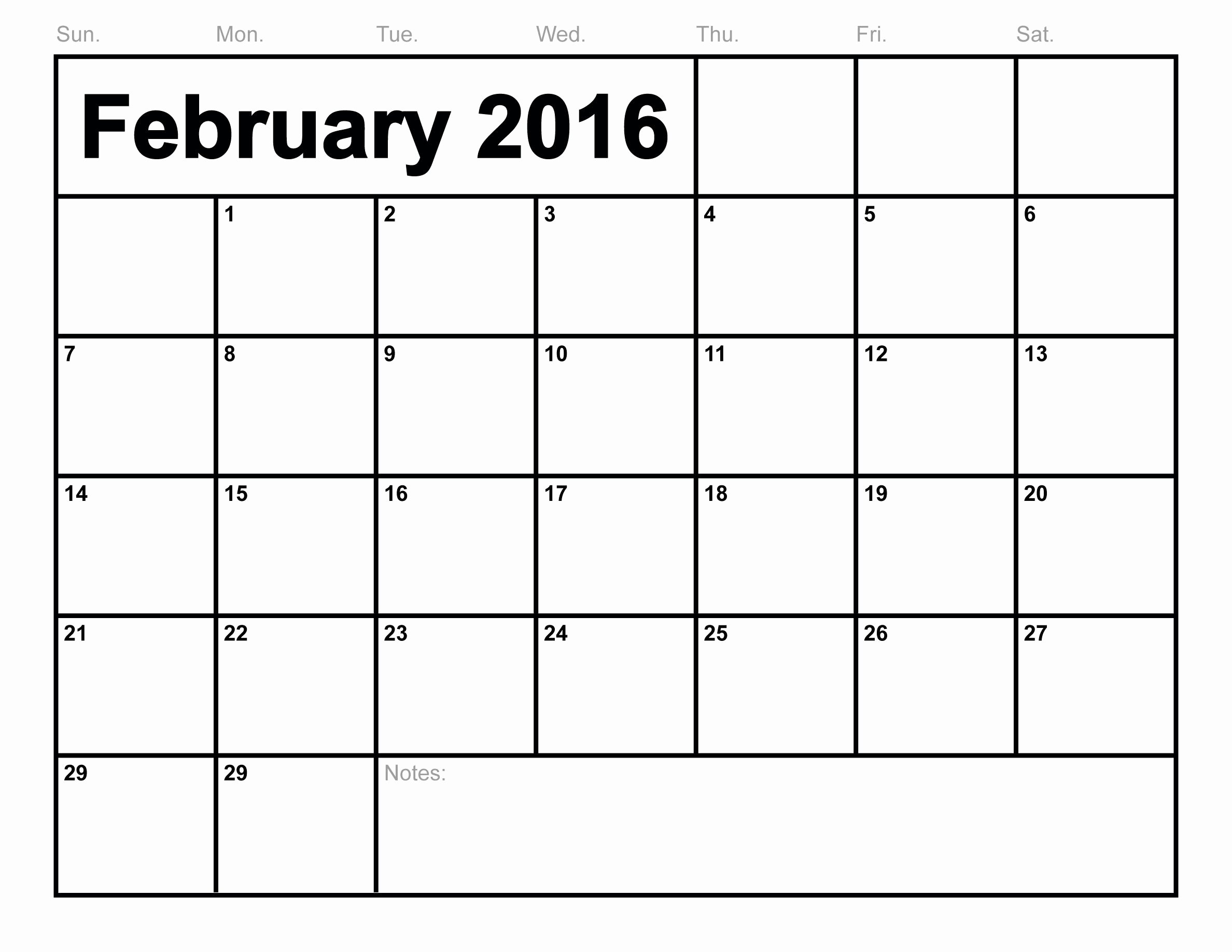 February 2016 Calendar Printable Monthly Blank Calendar
