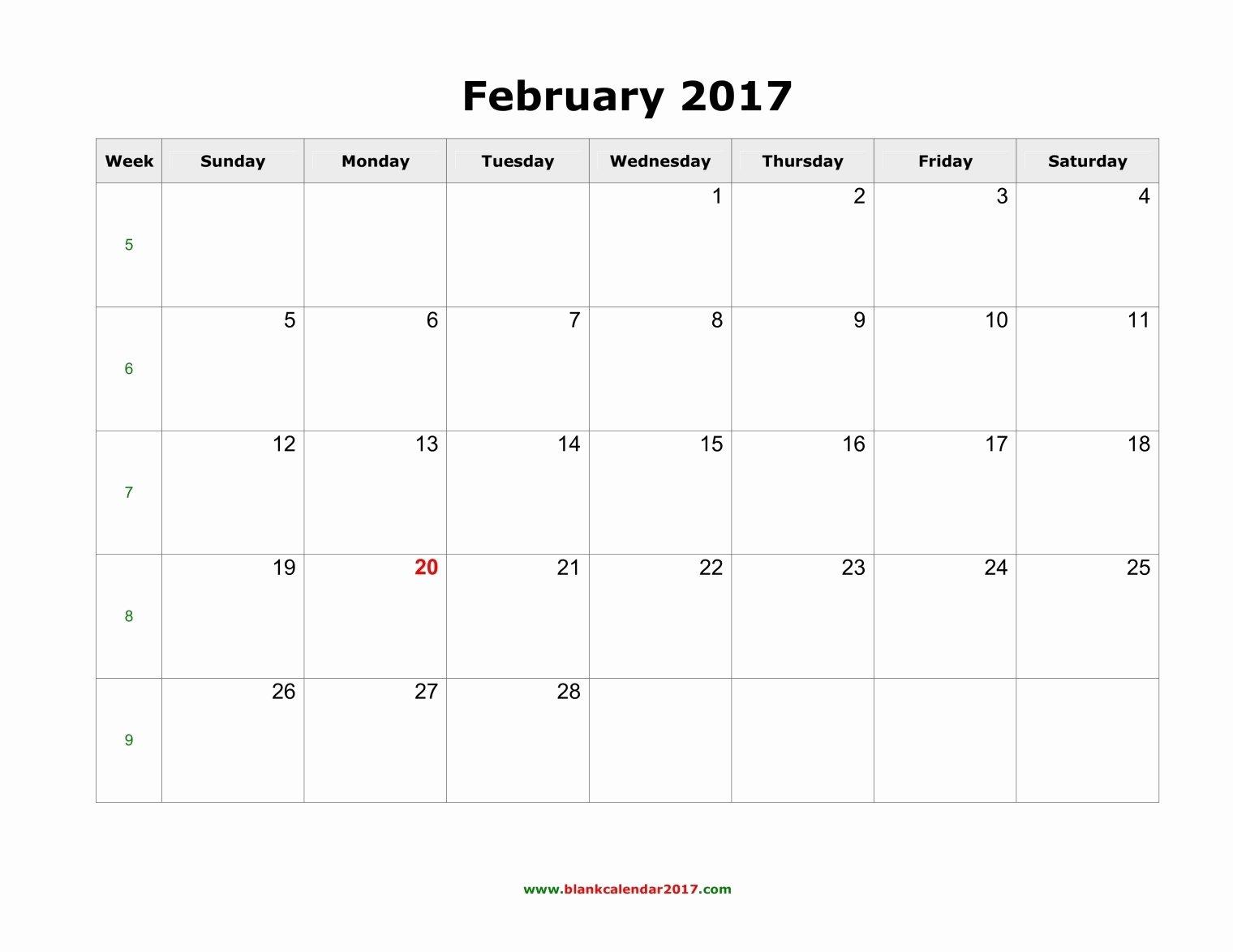 February 2017 Calendar Excel