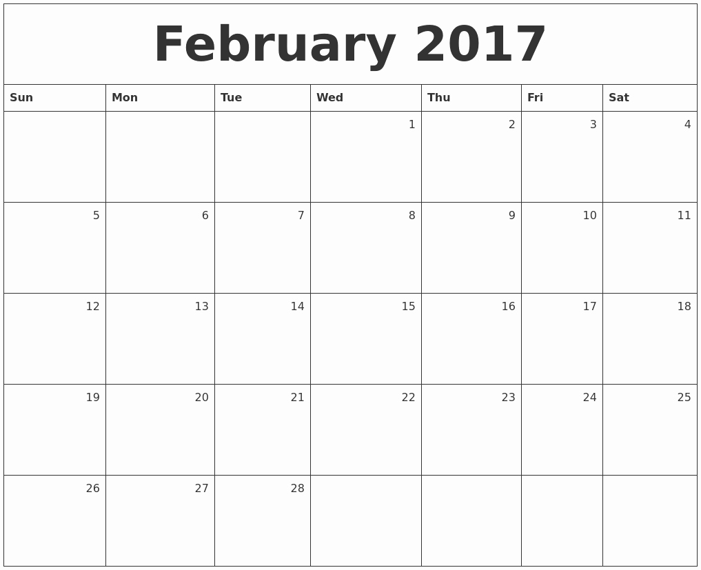 February 2017 Printable Calendar Template Holidays Excel