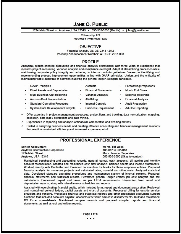 Federal Financial Analyst Resume Sample the Resume Clinic