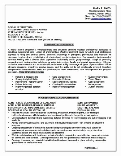 Federal Government Resume Best Resume Gallery