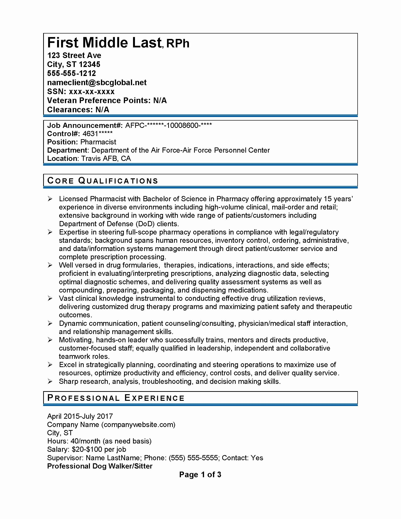 Federal Government Resume Samples