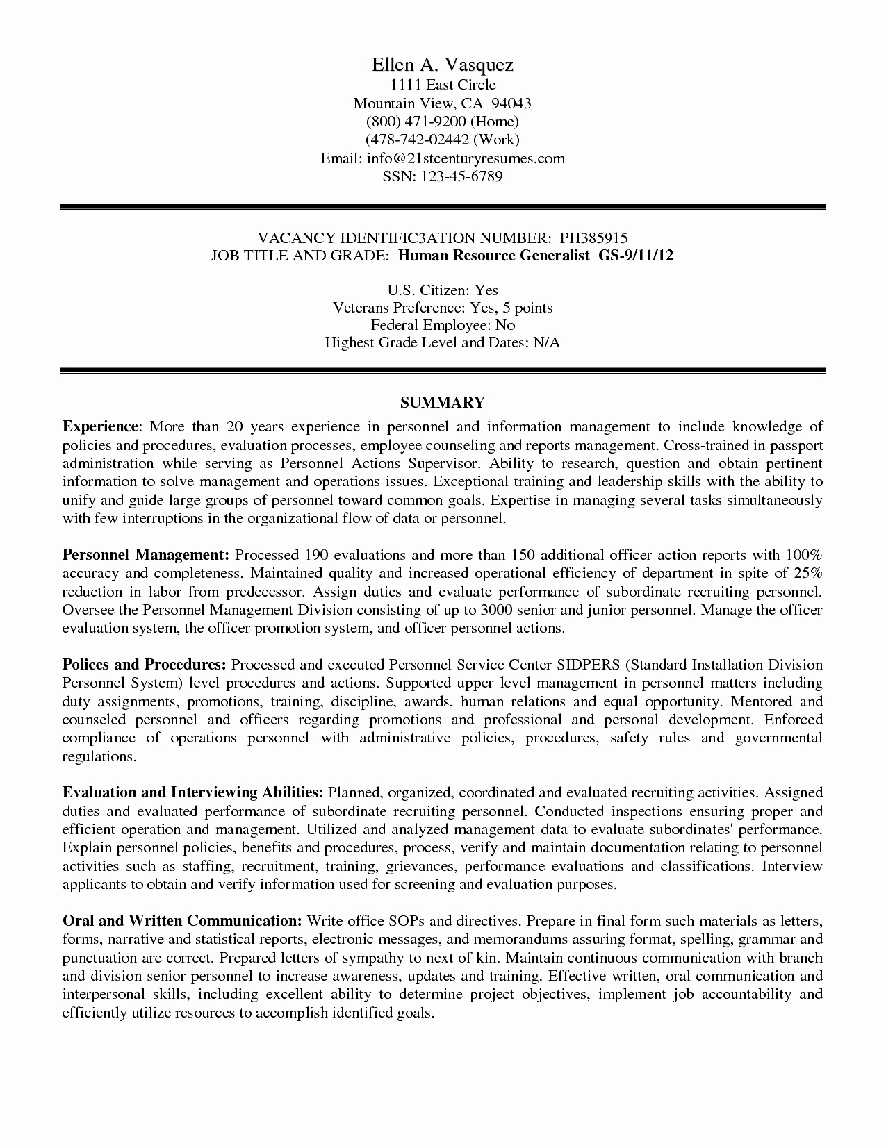Federal Government Resume Template