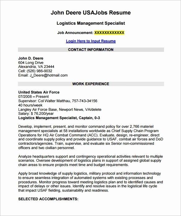 Federal Job Resume Sample