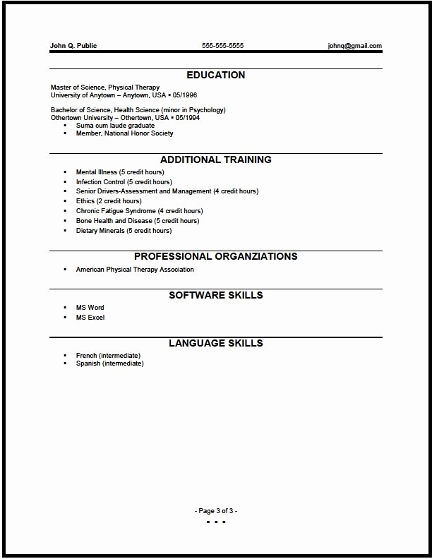 Federal Physical therapist Resume Sample the Resume Clinic