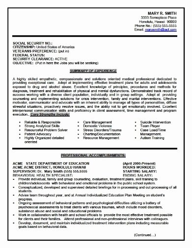 Federal Resume Template Word Oursearchworld