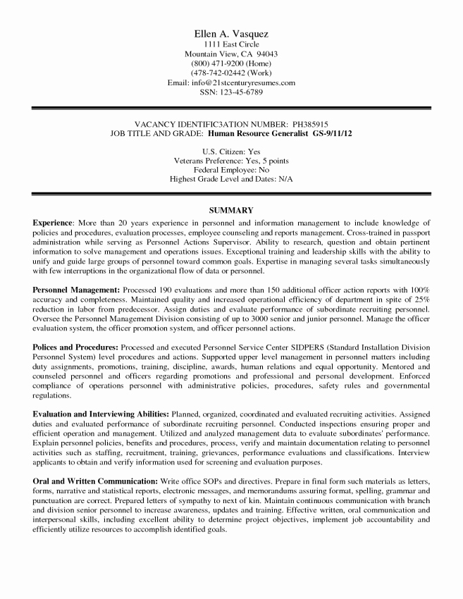 Federal Resume Templates Resume Sample Federal Resume