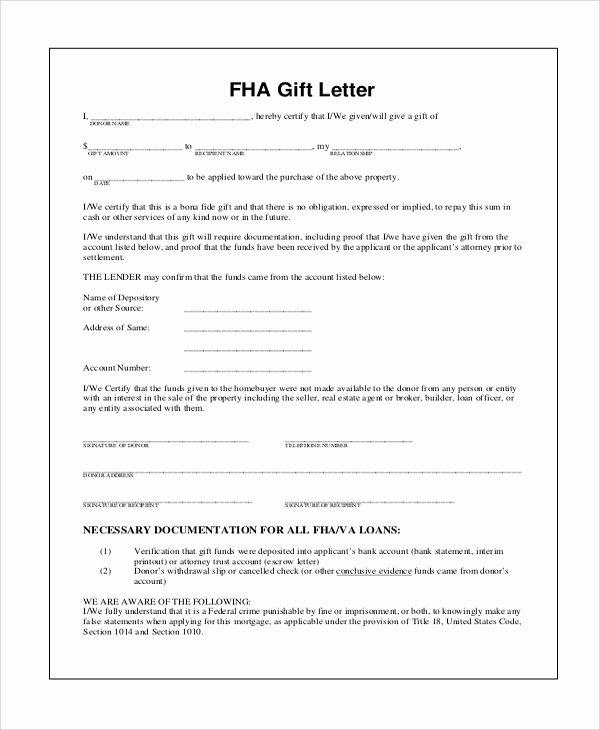 Fha Gift Letter – Gift Ftempo