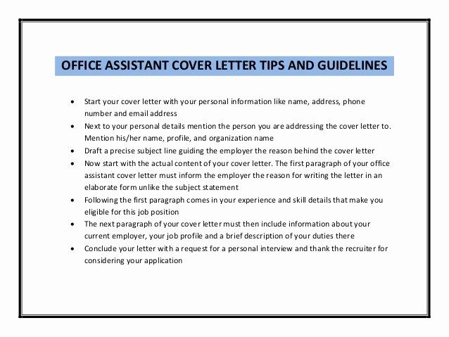 Fice assistant Cover Letter Sample