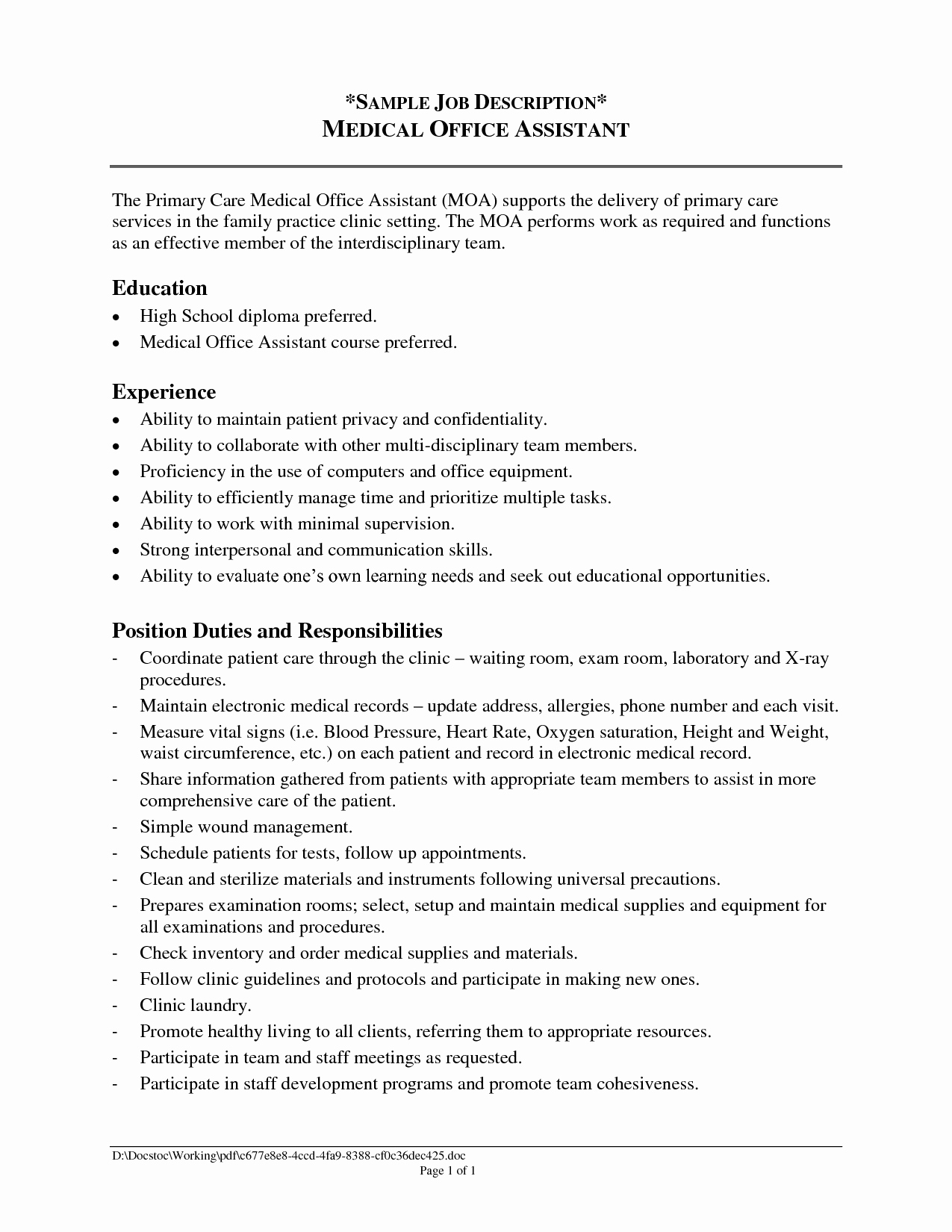 Fice assistant Job Description Resume 2016