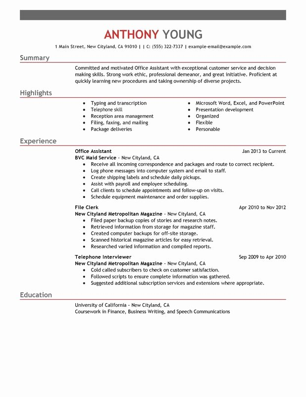 Fice assistant Resume Examples – Free to Try today