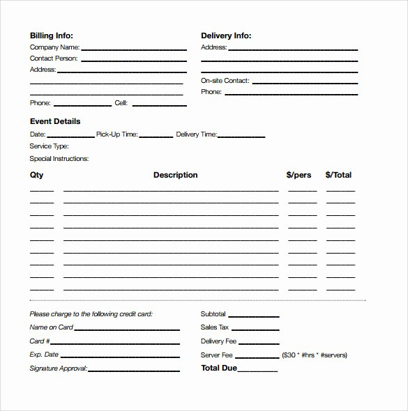 Fice Catering order Template to Pin On