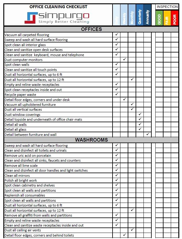 Fice Cleaning Checklist and Inspection Template