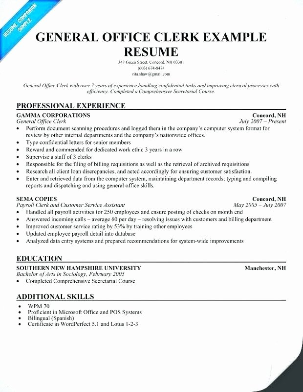 Fice Clerical Resume Samples Resume Ideas